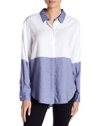 Two By Vince Camuto - Blue Engineered Colorblock Blouse - Lyst