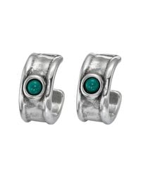 Uno De 50 - Green Fortified Murano Glass Accented C-hooped Earrings - Lyst