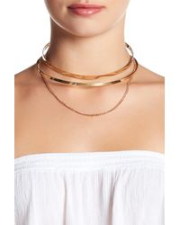 Steve Madden | Metallic Cutout Collar Chain Drop Choker | Lyst
