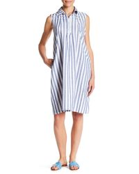 HOPE AND HARLOW - White Striped Print Linen Dress - Lyst