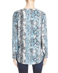 Soft Joie - Blue 'dane' Snake Print Button Front Blouse - Lyst