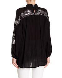 Haute Rogue - Black Embellished Linen Blend Choker Neck Top - Lyst