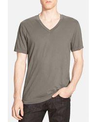 James Perse - Gray Short Sleeve V-neck Tee for Men - Lyst