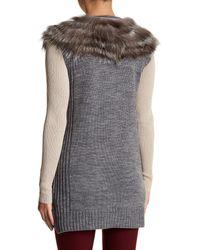 Love Token - Gray Genuine Fox Fur Trim Knit Cardigan - Lyst