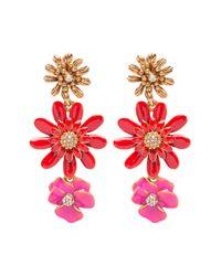 Oscar de la Renta - Red Painted Floral Clip On Drop Earrings - Lyst