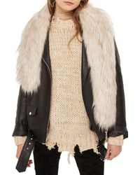TOPSHOP - Natural Tipped Faux Fur Stole - Lyst