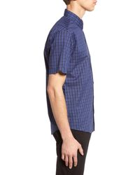Zachary Prell - Blue 'morrow' Trim Fit Plaid Sport Shirt for Men - Lyst