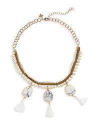 Panacea - White Bead & Tassel Collar Necklace - Lyst