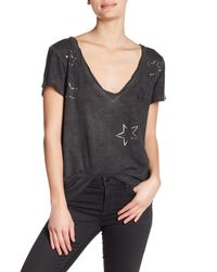 Pam & Gela - Black Short Sleeve Metallic Overdyed Tee - Lyst