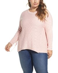 Caslon - Pink Mix Stitch Tie Sleeve Sweater (plus Size) - Lyst