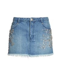 Free People - Blue Shine Bright Shine Far Cutoff Denim Miniskirt - Lyst
