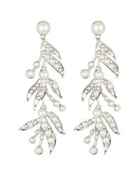 Givenchy - White Faux Pearl Linear Leaf Dangle Earrings - Lyst