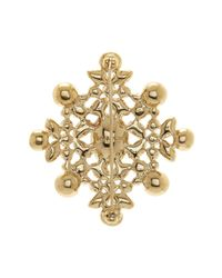Givenchy - Metallic Bezel Mixed Rhinestone Floral Pin - Lyst