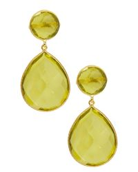 Saachi - Yellow 18k Gold Clad Faceted Lemon Quartz Earrings - Lyst