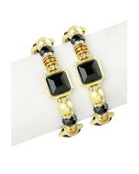 Saachi - Black Crystal Matte Bracelet - Set Of 2 - Lyst