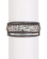 Saachi | Gray Grey & Silver Unpaved Bar Genuine Leather Bracelet | Lyst