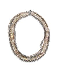 Saachi - Gray Annessa Grey Glass Crystal Necklace - Lyst