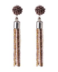 Saachi - Brown Ombre Beaded Tassel Earrings - Lyst