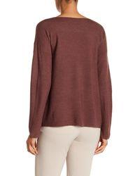 Eileen Fisher - Purple Bateau Neck Lightweight Merino Wool Sweater - Lyst