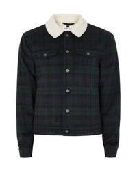 Topman - Blue Borg Collar Black Watch Plaid Western Jacket for Men - Lyst