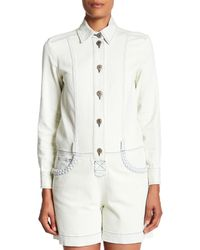 See By Chloé - White Denim Button Down Romper - Lyst