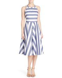 Eliza J - Blue Cotton Fit & Flare Dress - Lyst