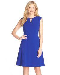 Tahari - Blue Embellished Bi-stretch Fit & Flare Dress - Lyst