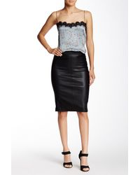 Scoop - Black Stretch Lamb Skirt - Lyst