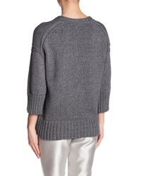 Lafayette 148 New York - Gray Chunky Knit V-neck Sweater - Lyst