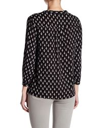 Casual Studio - Black V-neck Partial Button Blouse - Lyst