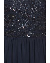 Adrianna Papell - Blue Beaded Bodice Mesh Gown - Lyst