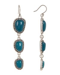Lucky Brand | Blue Stone Halo Linear Earrings | Lyst