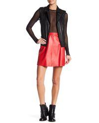 Muubaa | Red Leather Midi Skirt | Lyst