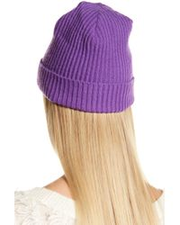 Portolano - Purple Black Cashmere Ribbed Cuffed Beanie - Lyst