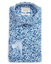 Ted Baker - Blue Endurance Gorge Slim Fit Floral Dress Shirt for Men - Lyst