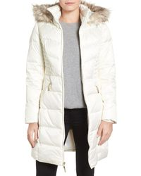Ellen Tracy - White Faux Fur Trim Matte Satin Down Coat - Lyst
