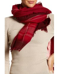 Frye - Red Degrade Stripe Virgin Wool Wrap Scarf - Lyst