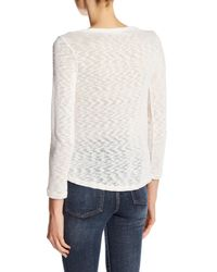 Jolt - Natural Lace Overlay Hacci Top - Lyst