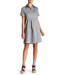 Max Studio - Gray Short Sleeve Button Up Shift Dress - Lyst