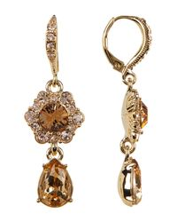 Givenchy - Metallic Glass Crystal Double Drop Earrings - Lyst