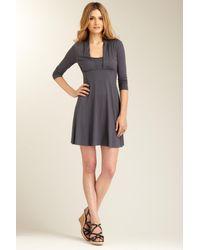 Three Dots | Gray 3/4 Sleeve Dress | Lyst