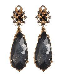 Jenny Packham | Metallic Crystal & Black Stone Drop Clip-on Earrings | Lyst