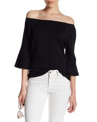 Workshop - Black Boatneck Bell Sleeve Shirt (petite) - Lyst
