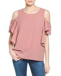 Bobeau - Pink Cold Shoulder Ruffle Sleeve Top (regular & Petite) - Lyst