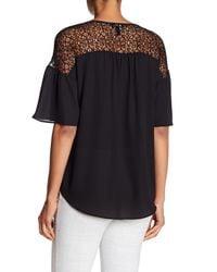 Jones New York - Black Lace Short Sleeve Top - Lyst