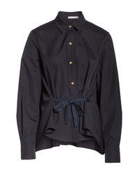 Vince - Black Tie Front Cotton Blouse - Lyst