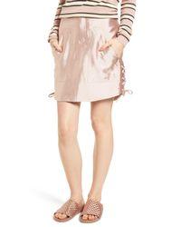 Scotch & Soda - Pink Short Safari Skirt In Shiny Qu - Lyst