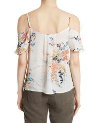 Joie - Multicolor Adorlee Print Silk Cold Shoulder Top - Lyst