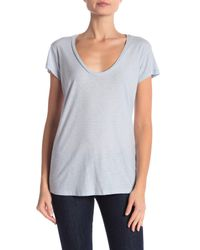 James Perse - Blue Deep V-neck Tee - Lyst