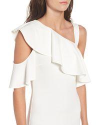 Soprano - White Ruffle One-shoulder Body-con Dress - Lyst
